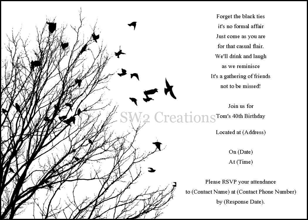 Free Printable Black And White Birthday Invitation