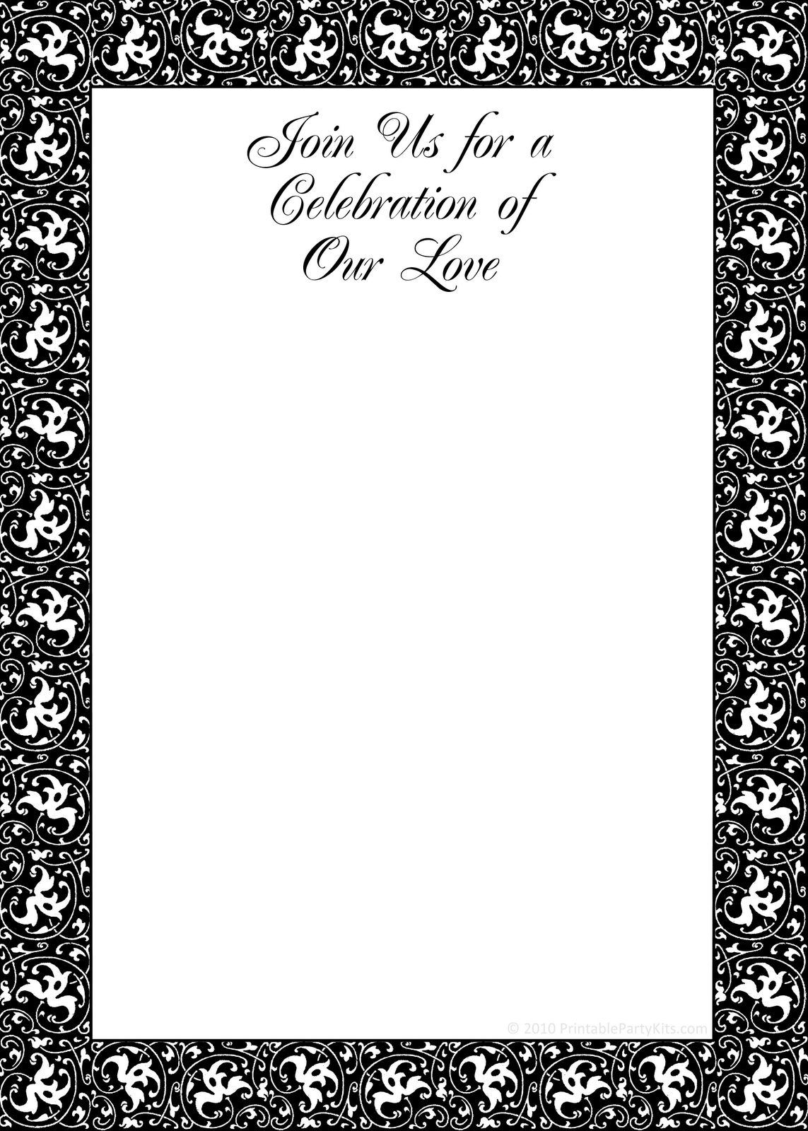 free printable black and white birthday invitation