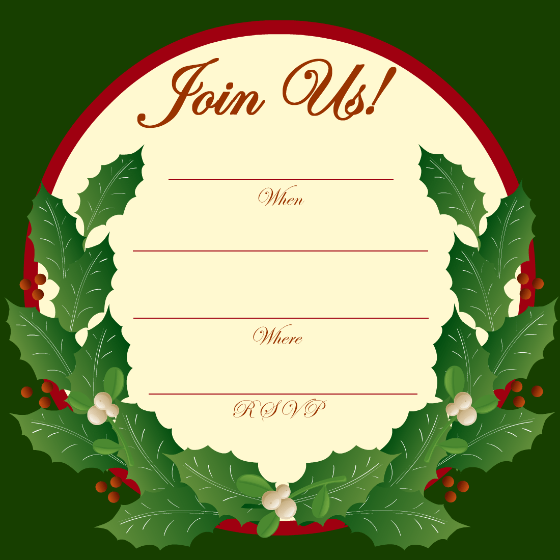 printable template for christmas in invitation
