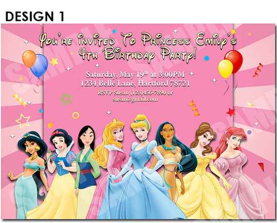 Free printable birthday invitation disney princess stopboris Images