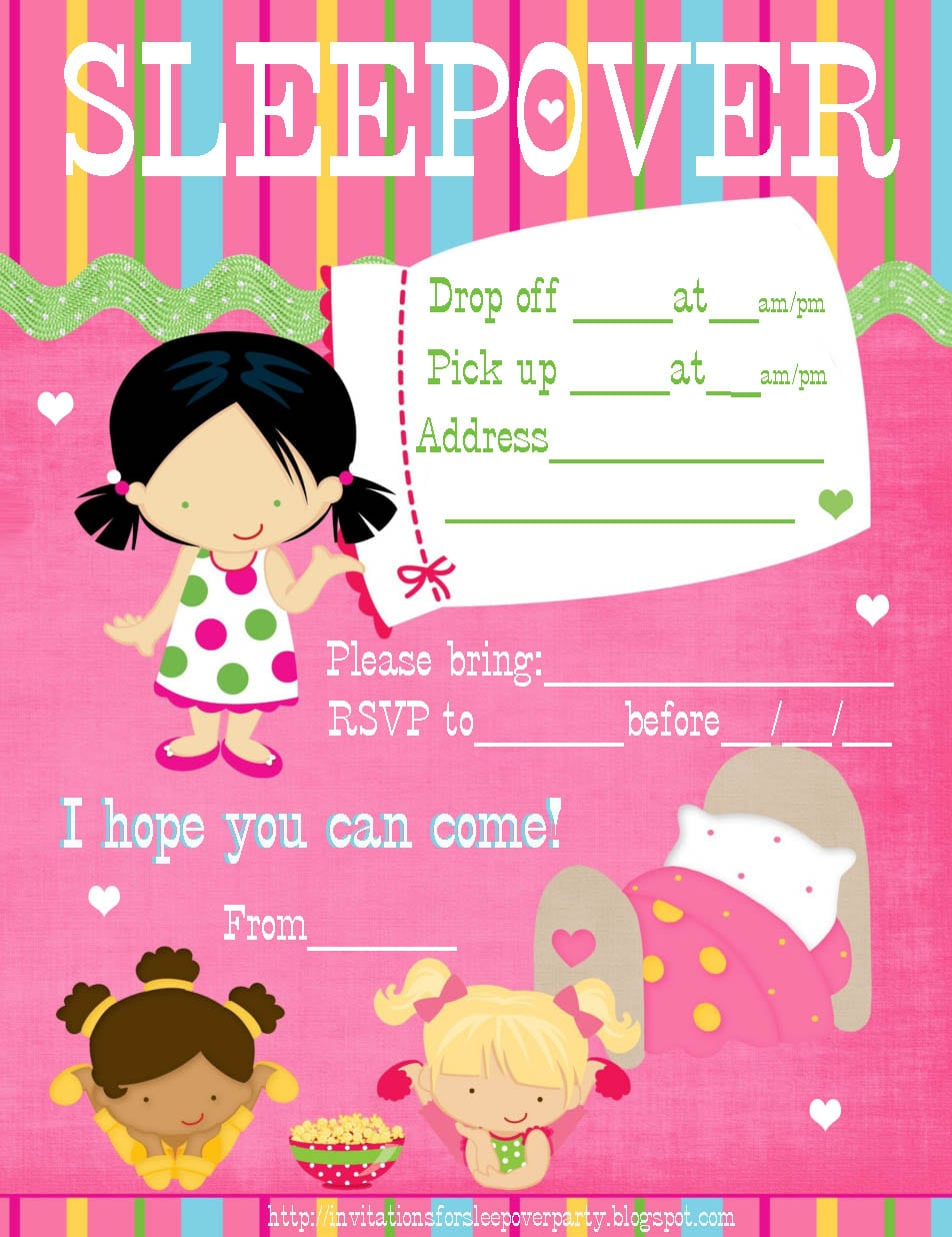 Free Printable Girl Birthday Sleep Over Invitation