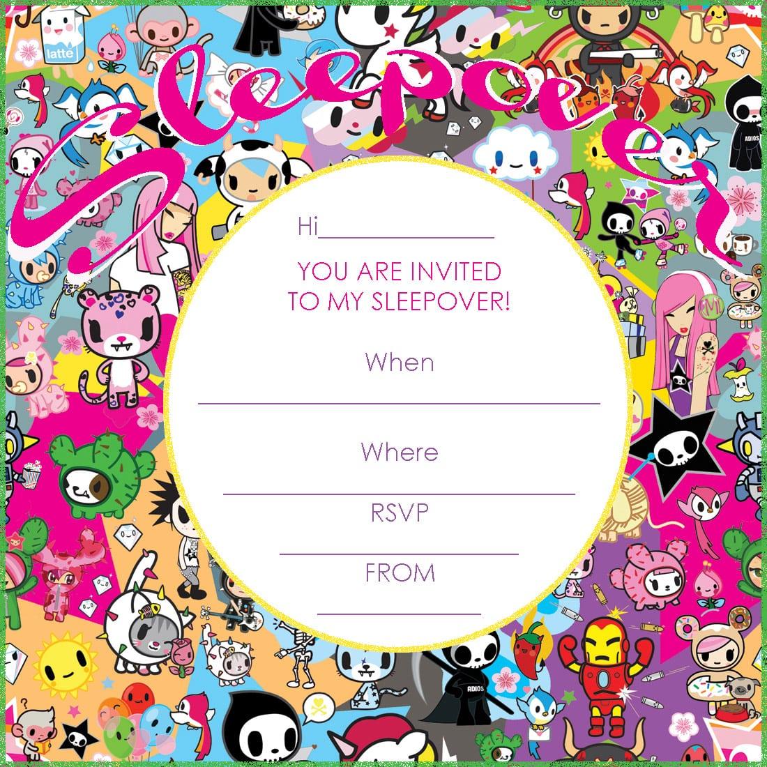Free Printable Hello Kitty Slumber Party Invitation