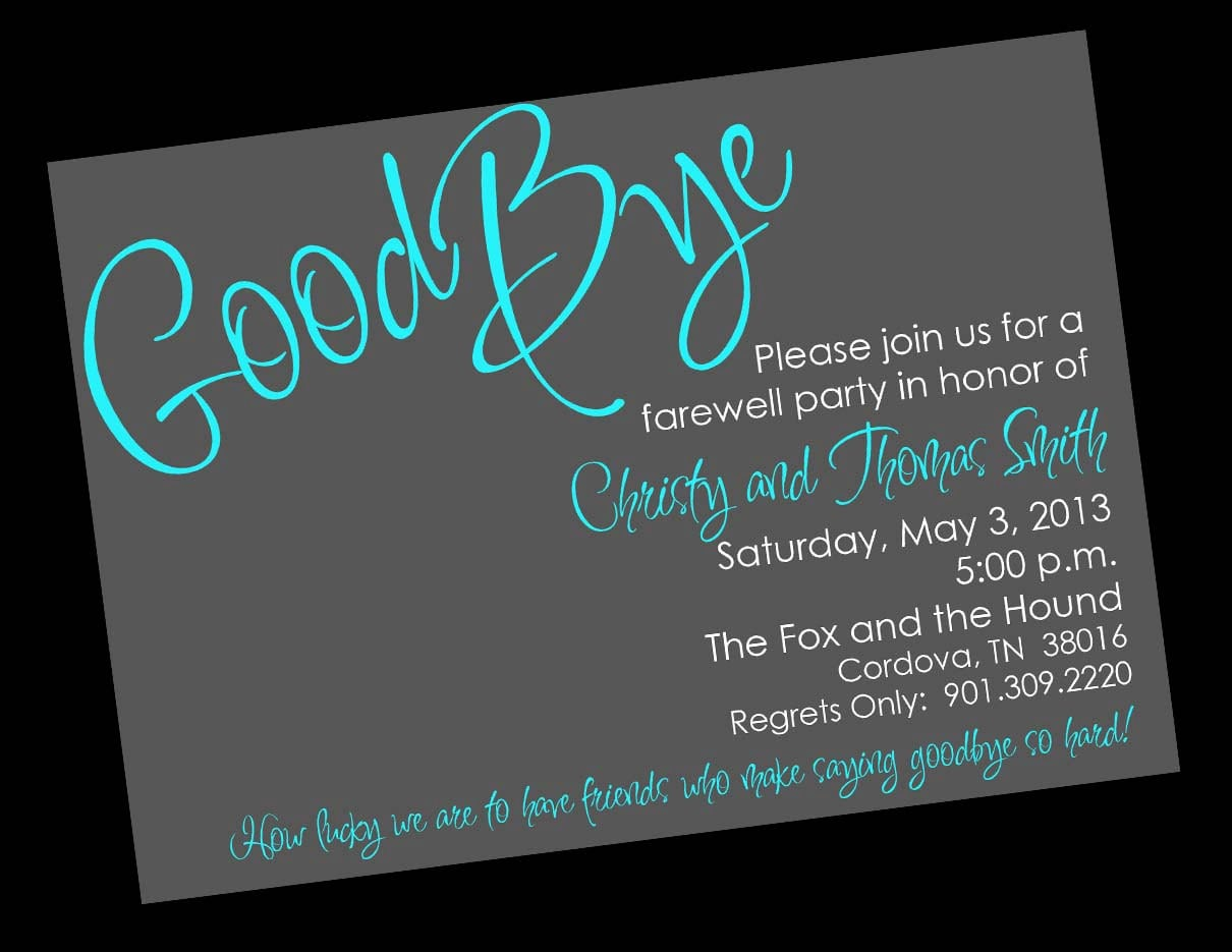 Punchy image regarding free printable going away party invitations