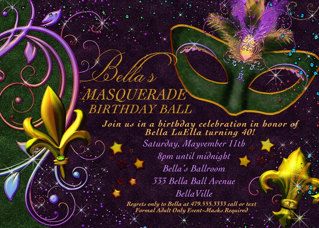 Free printable mardi gras invitation for Masquerade invitations template free