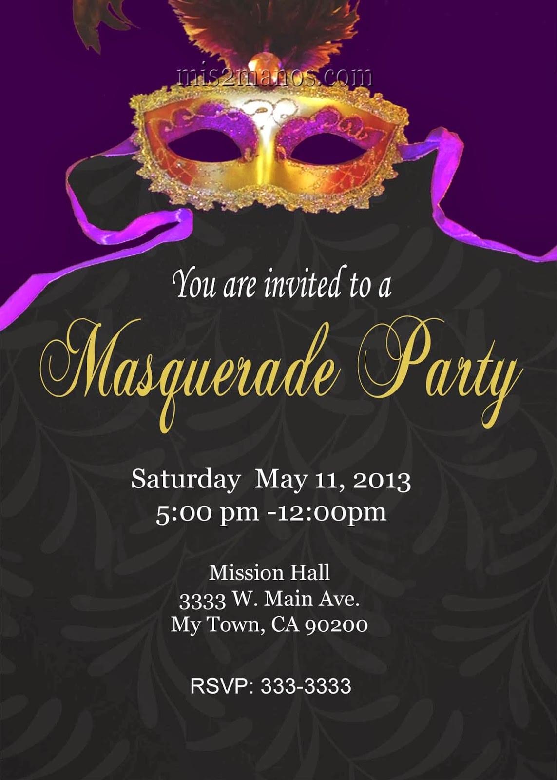Masquerade Invitation Template - zesloka.tk