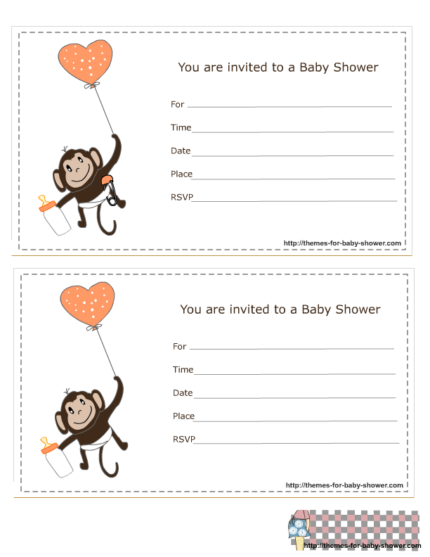 Free Printable Monkey Boy Baby Shower Invitations