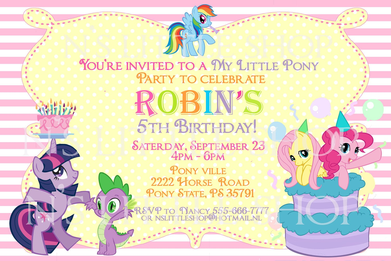 Free Printable My Little Pony Birthday Party Invitations
