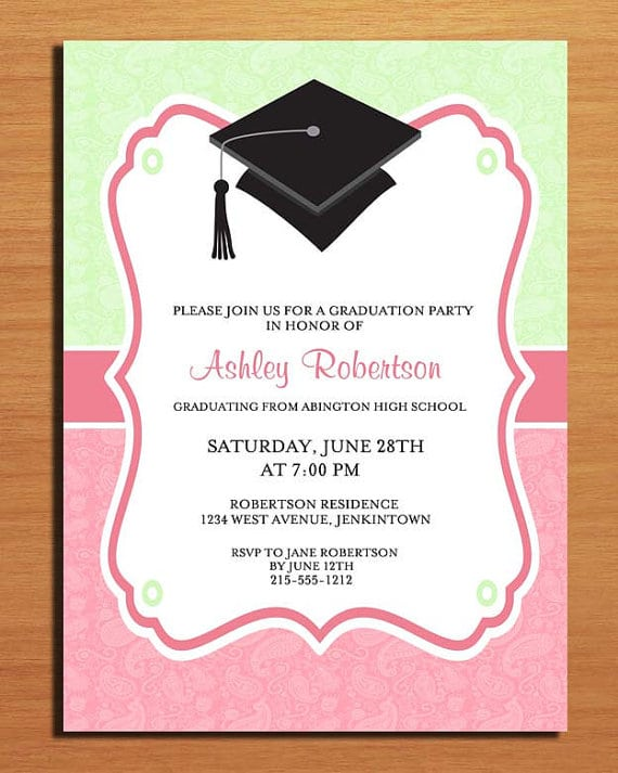 Free printable graduation party invitation template for Free graduation invitation templates for word