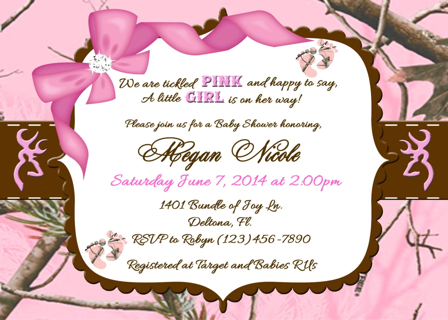 Free Printable Pink Camo Baby Shower Invitations