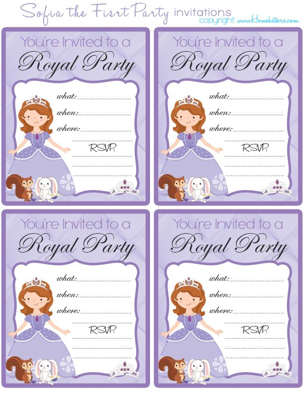 Free Printable Princess Sofia Invitations