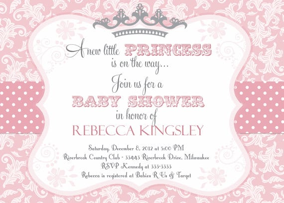 Free Printable Princess Themed Baby Shower Invitations