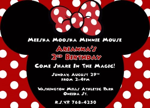 Free Printable Red Minnie Mouse Birthday Party Invitations