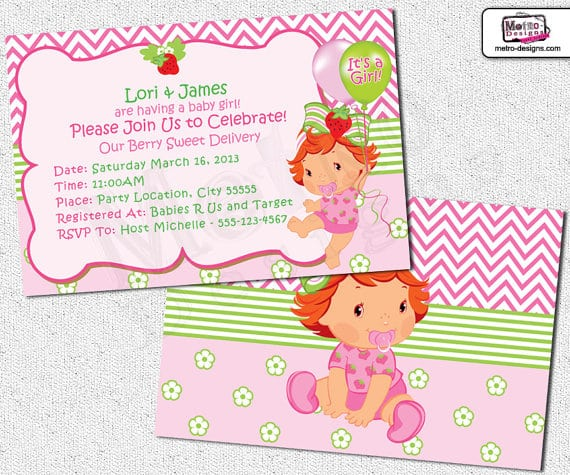 Free Printable Strawberry Shortcake Baby Shower Invitations