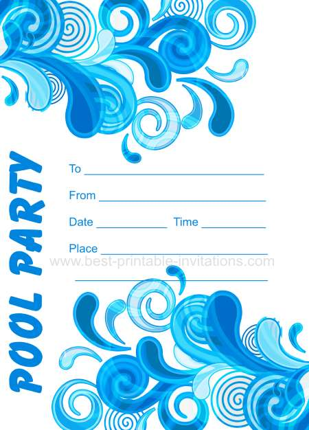 Free Printable Swim Party Invitations