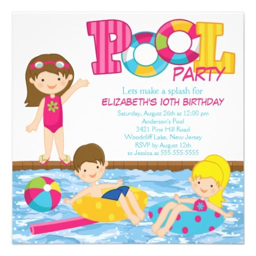 Free Printable Kids Pool Birthday Party Invitation