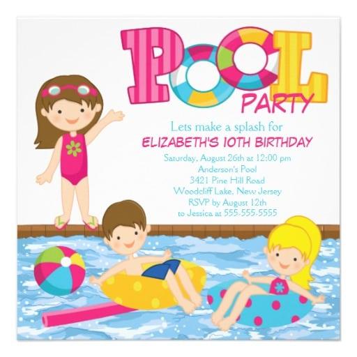 Free Printable Kids Pool/ Birthday Party Invitation
