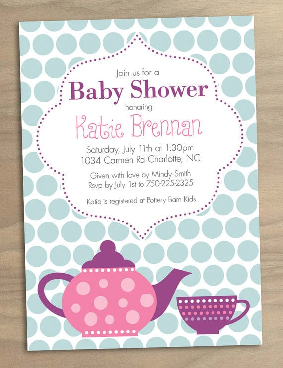 Free Printable Tea Party Baby Shower Invitations