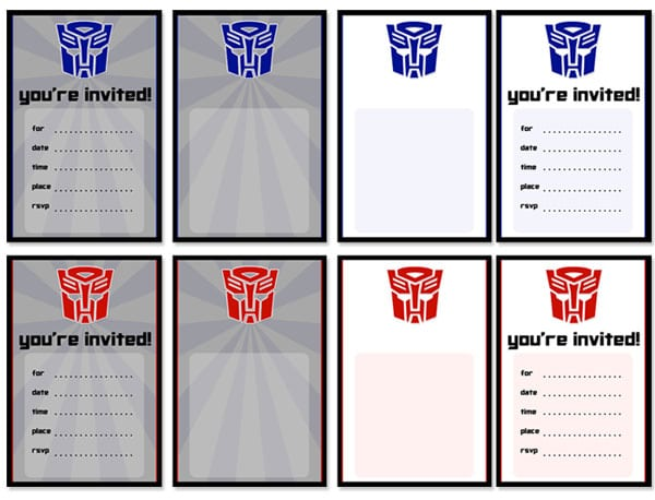printable transformers birthday invitation, Birthday invitations