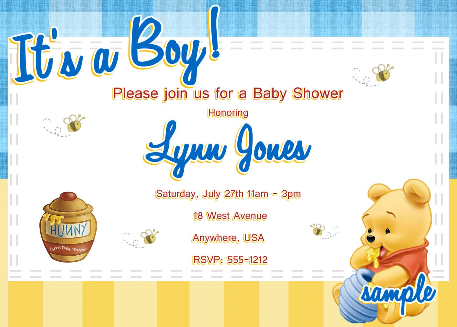 Free Printable Winnie The Pooh Baby Shower Invitation Templates