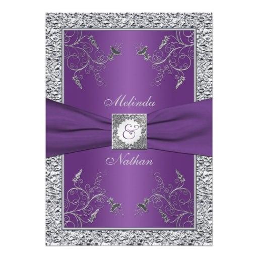 Free Purple And Silver Wedding Invitation Templates