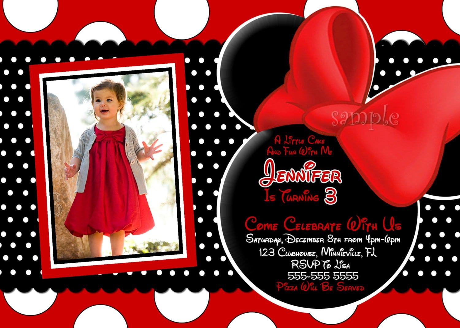 Free Red Minnie Mouse Birthday Invitation