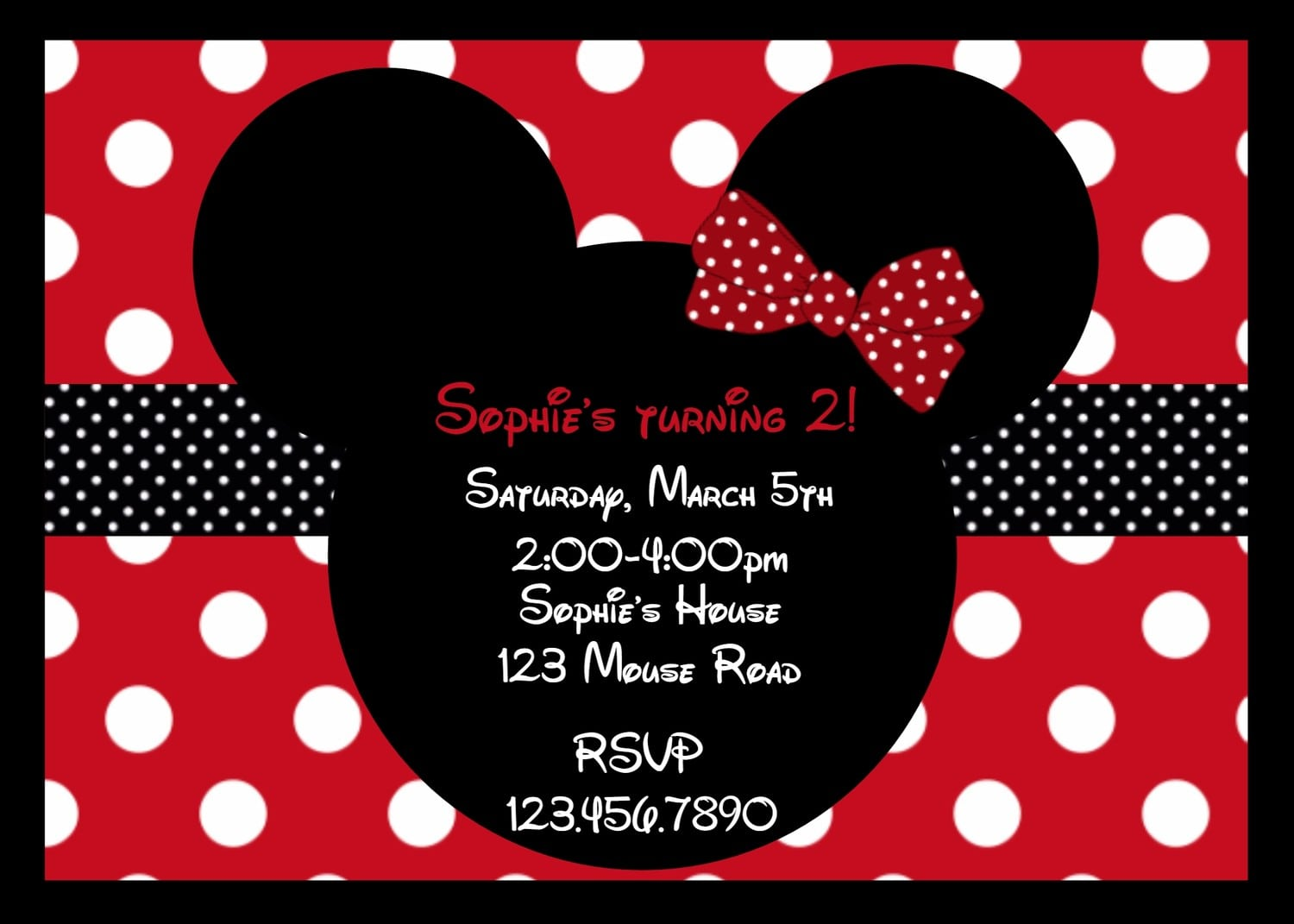 minnie mouse template invitations