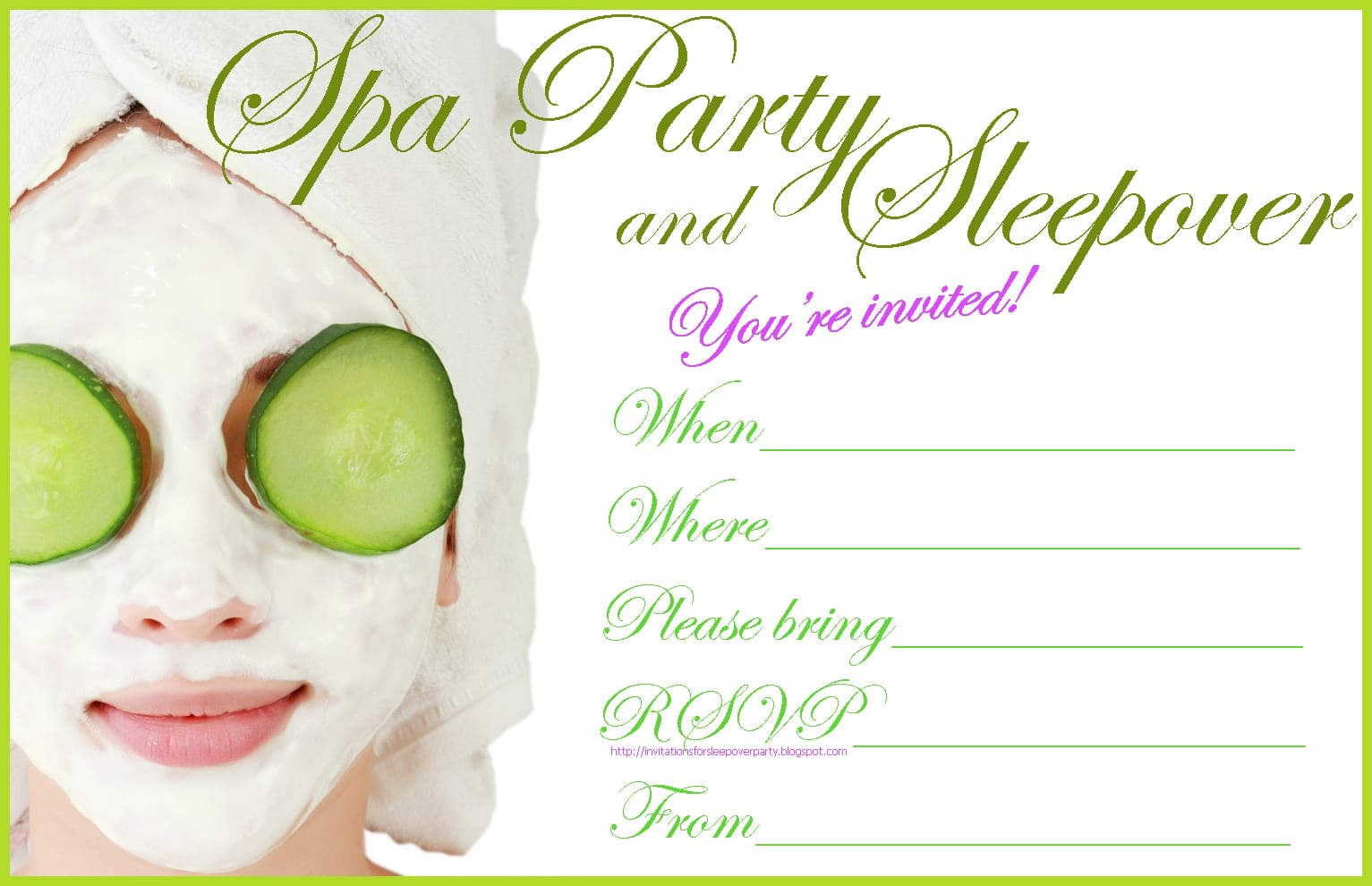Free Spa Party Invitations Printable