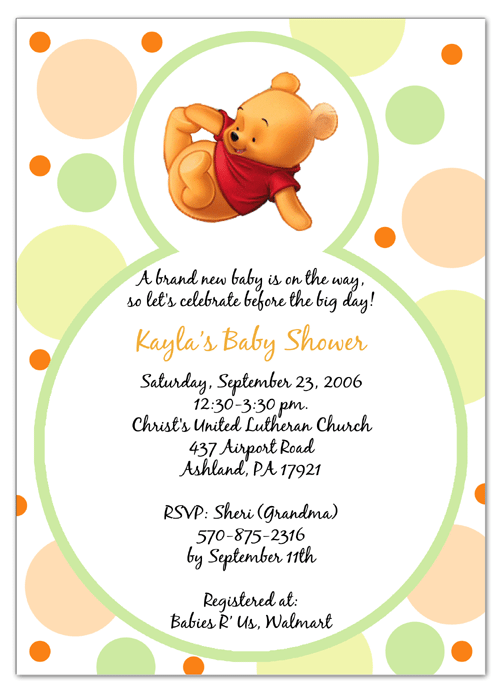 Free Winnie The Pooh Baby Shower Invitation Templates