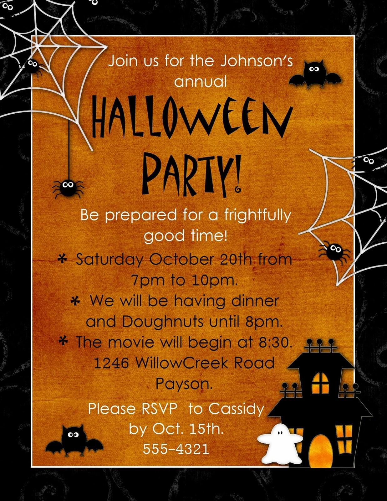 It is a picture of Influential Free Halloween Invitation Templates Printable