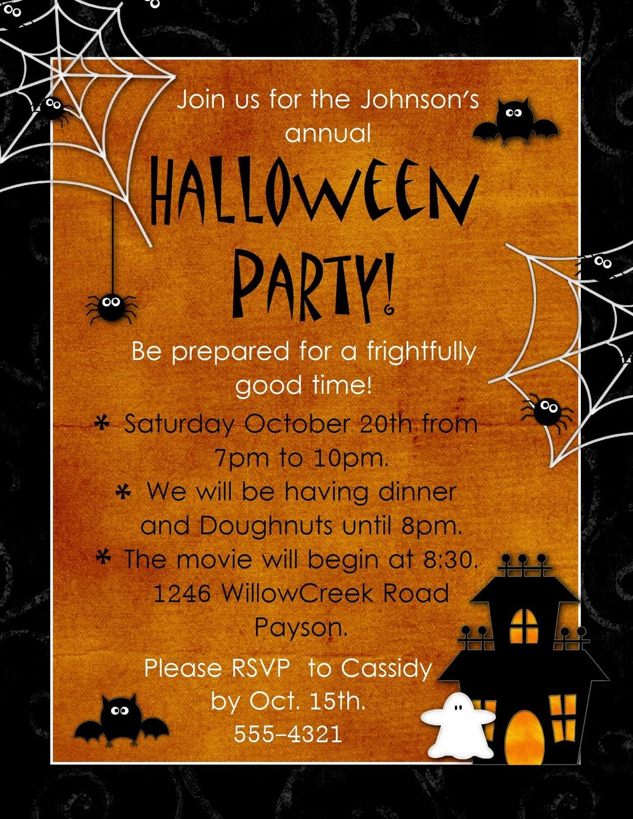 Halloween Invitation Template Free Printable