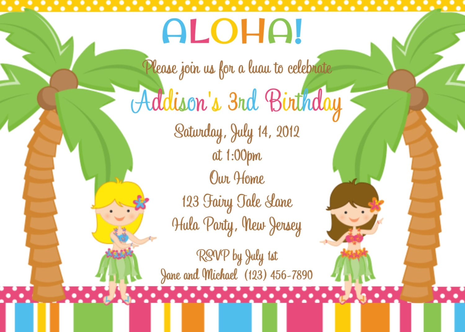 Hawaii Birthday Invitations Free