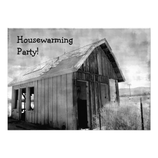 Housewarming Party Black And White Invitation Template