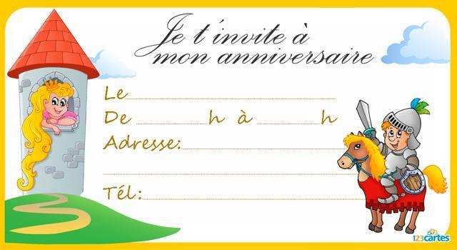 Invitation Anniversaire Chevalier Et Princesse