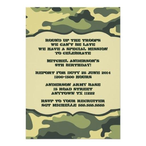 Invitation Army Party