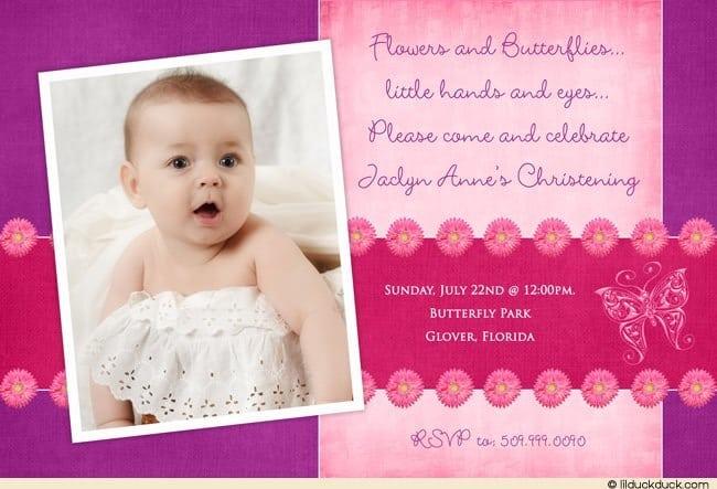 Invitation Card For Christening Girl
