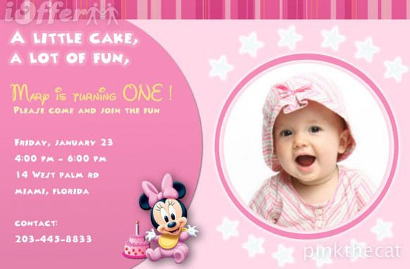 Invitation For 1st Birthday Party Girl