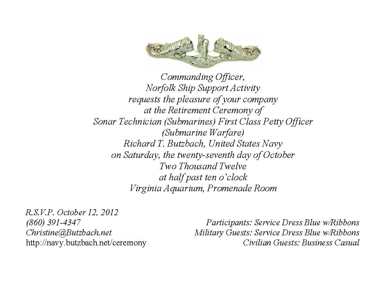 Invitation For Retirement Ceremony