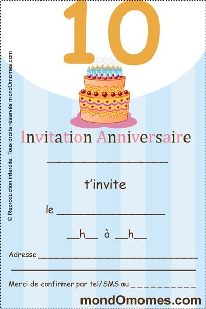 Invitation Gratuite Anniversaire Fille 10 Ans