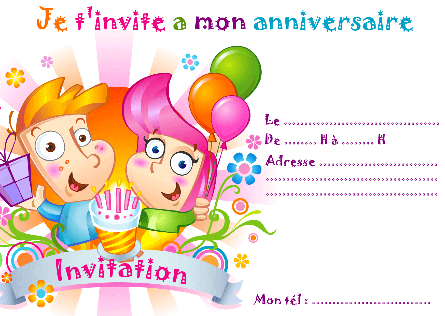 Invitation Gratuite Anniversaire Gar On