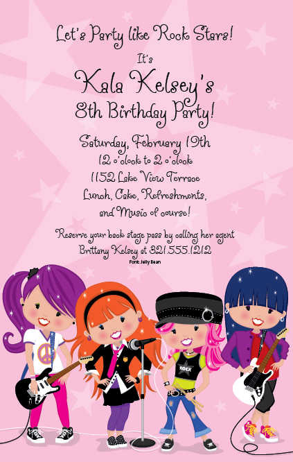 Invitation Wording For Girl Birthday Party