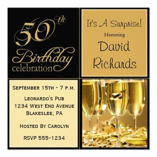 Invitations For 50th Birthday Surprise