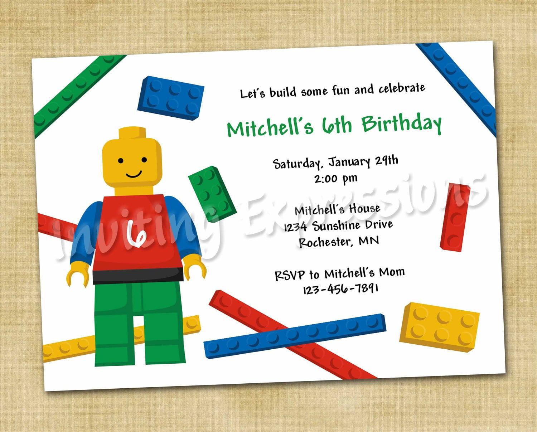 Lego Birthday Party Invitation Wording
