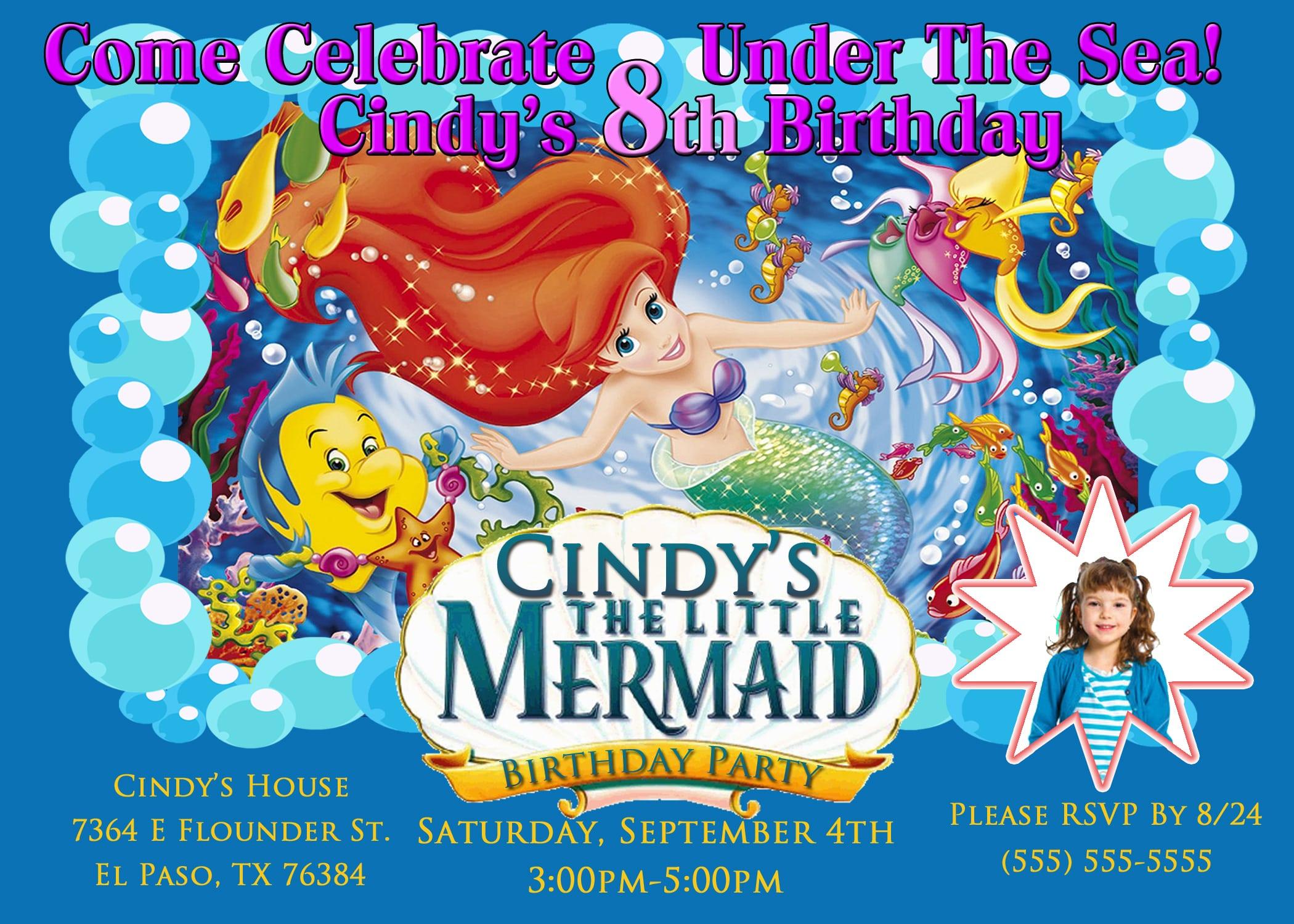 Little Mermaid Birthday Invitations