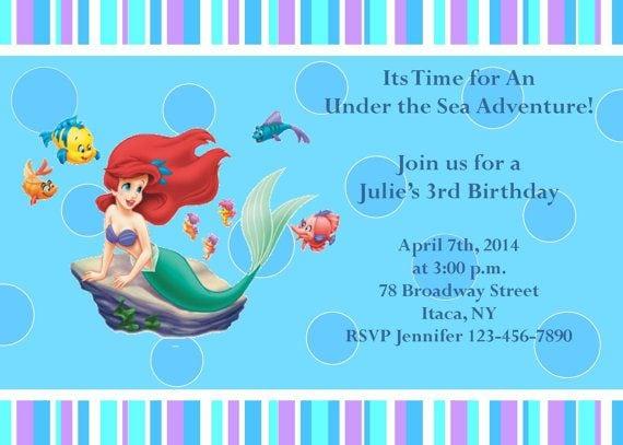 Little Mermaid Birthday Party Invitations Free