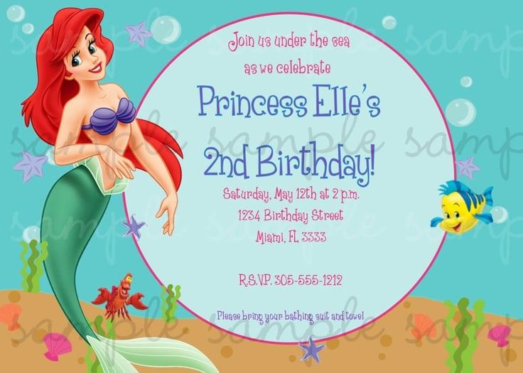 Little Mermaid Email Birthday Invitation