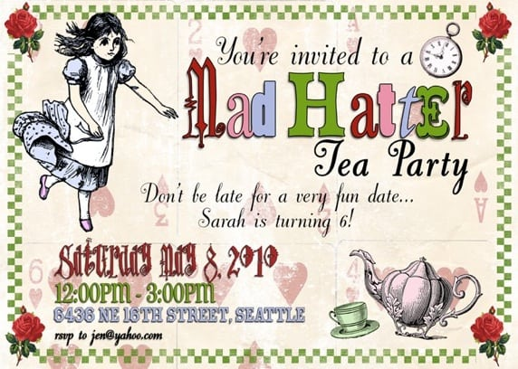 Mad Hatter Tea Party Invitations Free Printable