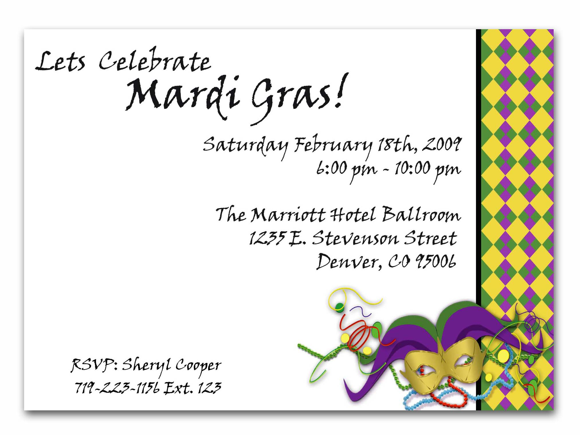 Mardi Gras Party Invitations Templates jacquie lawson birthday cards – Mardi Gras Party Invitations Templates