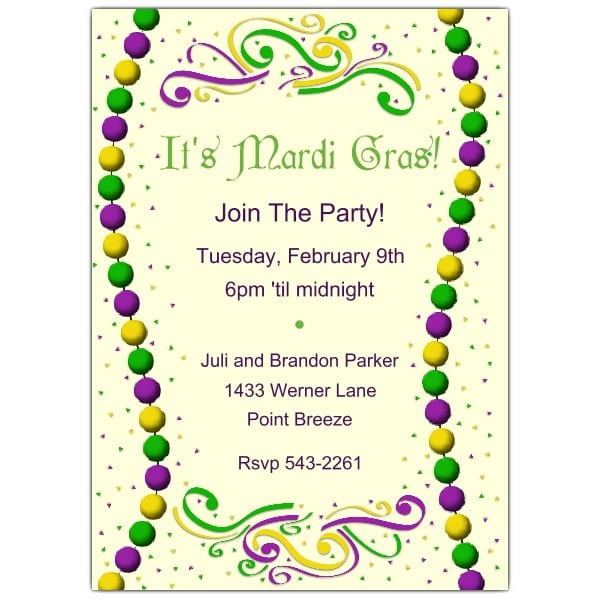 Unusual image within free printable mardi gras invitations