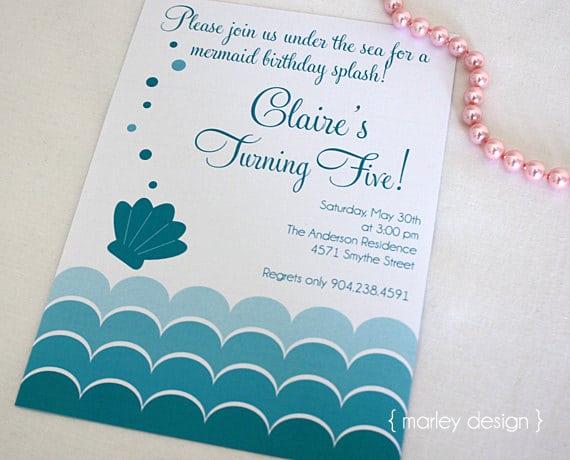 Mermaid Birthday Party Invitation Wording