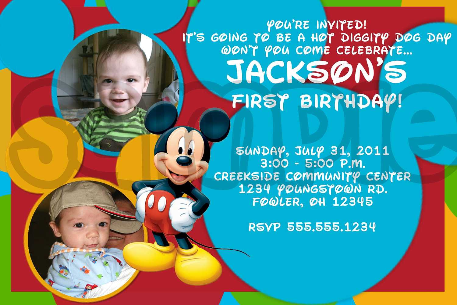 First Birthday Mickey Invitation